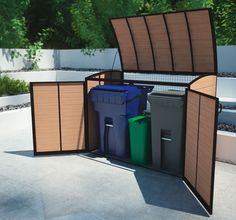 Outdoor refuse shed for storing garbage.  From Canadian company comfort+ that LIz met at the remodeling conference in Chicago
