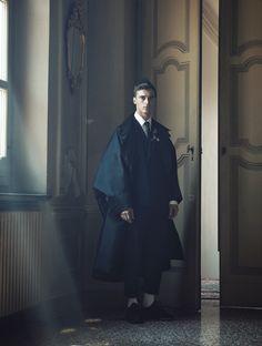 Clément Chabernaud in 'Essere Eleganti', photographed by Pablo Arroyo for L'Officiel Hommes Italia #7, Autumn/Winter 2012-2013
