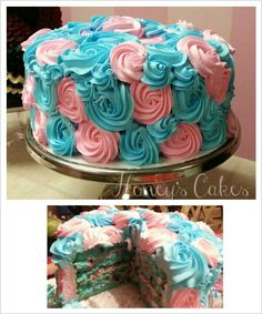 Gender reveal cake. It's a Boy!  Cake by Honey's Cakes.