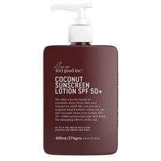 We are Feel Good, Coconut Sunscreen. Now available in 2 sizes. or pump pack. You get to smell like you are on a tropical island holiday with our Coconut Sunscreen Lotion SPF Sunscreen Spf 50, Beauty Elixir, Broad Spectrum Sunscreen, Smell Good, Active Ingredient, Face And Body, That Way, Lotion, Moisturizer