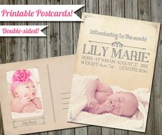 Vintage Baby Announcement Postcard  5x7  Customize  by NerdyKittenDesigns, $10.00