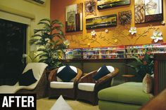 Handyman reader Patricia needed to renovate the dated living area of her new home. Roof Cladding, Handyman Magazine, Dark Blue Walls, Magazine Holders, Cabana, Living Area, New Homes, Lounge, Layout