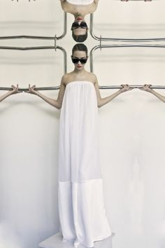 Draped chiffon maxi dress with silk inserts and elasticated, strapless neckline, by Givenchy.