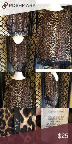 BEAUTIFUL CHIFFONY FEEL LEOPARD BLOUSE Excellent used condition, no rips or stains. Gorgeous crochet trim along the bottom of top and on sleeves. Measurements: 30in long, 40in bust and 20in sleeve length. Runs large! Voll Tops Blouses