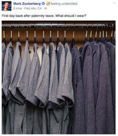 Mark Zuckerberg cracks joke on his first day back at work after paternity leave. Walk In Wardrobe, Capsule Wardrobe, Mark Zuckerburg, Doug Funnie, Decision Fatigue, Millie Mackintosh, What Should I Wear, Start Ups, Glam Room