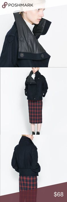 Zara JACKET WITH HIGH COLLAR	M Zara  JACKET WITH HIGH COLLAR	Sz M color Navy - new without tags Zara Jackets & Coats