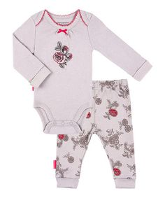 Another great find on #zulily! Stone English Rose Organic Bodysuit & Pants by Kushies #zulilyfinds