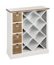 A beautiful pure white cabinet offset with an exposed wooden rim and drawers. With its exposed storage this piece can hold upto seven wine bottles at once, any accessories can be placed in the numbered wooden drawers. The fantastic white colouration makes this an ideal addition to a modern home wishing to capture some country charm.