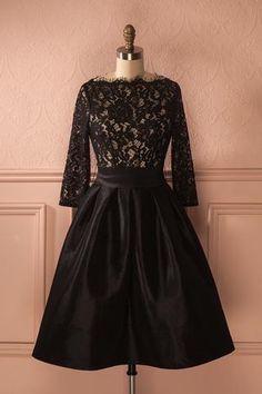 Zelphinia - Lace Top Black Midi Dress