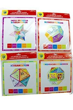 Set of 4 Three Dimesional Geometric Shape Kits Icosahedron Dodecahedron Rhombicuboctahedron Small Stellated Dodecahedron by Teaching Tree >>> Check this awesome product by going to the link at the image.