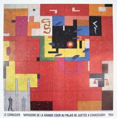 Tapisserie de la grande cour au Palais de Justice a Chandigarh - Le Corbusier