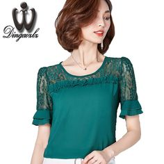 Good price Summer Blusas lace stitching Chiffon shirt Plus size Women Tops Short-sleeved Women Casual shirt Ruffles Floral Lace blouse just only $10.99 with free shipping worldwide  #womanblousesshirts Plese click on picture to see our special price for you
