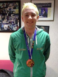 Shane McKeever from Ireland proudly displaying his gold medal from the World Dancesport Games 2013