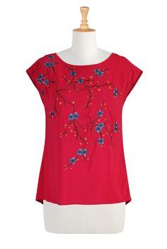 Floral Embellished Stretch Crepe Tunics, Polyester Stretch Crepe Tops Women's designer fashion - Shop Women's Tunic Tops - Embellished Tops, Long Sleeve Tops, Short Sleeve Tops -   eShakti