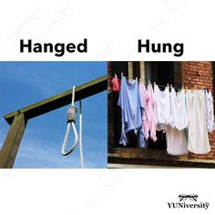 "Either ""hanged"" or ""hung"" could be the simple past or past participle of ""hang."" Criminals are hanged; paintings and clothes are hung. I hanged up the phone. I hung up the phone. We hanged out. We hung out. English Idioms, English Words, English Vocabulary, English Grammar, Efl Teaching, Grammar Tips, Aesthetic Words, English Language Learning, Communication Skills"
