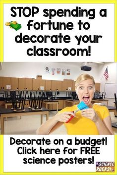 Stop spending a fortune to decorate your science classroom! 8th Grade Science, Elementary Science, Middle School Science, High School Biology, Elementary Schools, Science Lessons, Teaching Science, Science Education, Physical Science