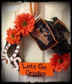 Baltimore Orioles Inspired Handmade Wreath by FinnzUp on Etsy, $35.00