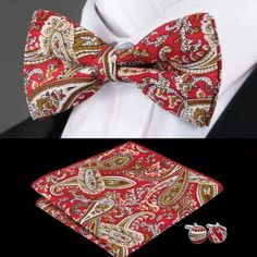 """This is a brand new silk bow tie set. Set includes coordinating bow tie, cuff linksand pocket square (handkerchief). Bow tie is 2.5"""".    Also available on our website at www.UyleesBoutique.com in our """"Men's Bowties"""" Section.    Please note this item requires three (3) weeks to ship. Please take shipping time into consideration prior to placing your order.     This item is available for International Shipping.  