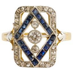 French Belle Epoque Sapphire Diamond Gold Platinum Ring
