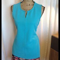Calvin Klein Turquoise Top Silver embellishment at collar Calvin Klein Tops