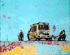 Milford Haven, Ice Cream Van, 10 Frame, Canvas Board, Silk Screen Printing, Mixed Media Art, Art Boards, Art Gallery, Fine Art