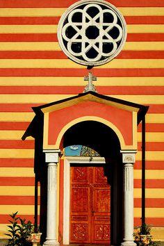 Door ~ Striped Church Church at Grabova near Obrenovac in Serbia Cool Doors, Unique Doors, Door Knockers, Door Knobs, When One Door Closes, Door Gate, Architecture Details, Installation Architecture, Modern Architecture