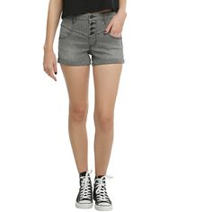 Black White Stripe High-Waisted Shorts Hot Topic ($22) ❤ liked on Polyvore featuring shorts, high-rise shorts, black and white stripe shorts, highwaist shorts, pinstripe shorts and zipper shorts