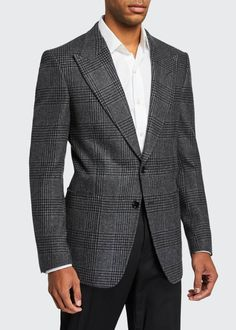 Tom Ford Men's Prince of Wales Plaid Shelton Peak Two-Button Jacket - Gray Pattern Tom Ford Jacket, Tom Ford Suit, Tom Ford Men, Neiman Marcus Store, Business Casual Dress Code, Business Outfits, Burberry Men, Gucci Men, Men Formal