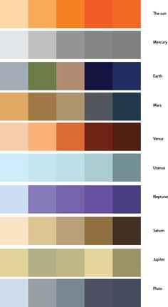 Color Palettes inspired by planets, moons,and stars