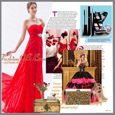 """""""2013 Spring Beading Red Brush Train Dama Dress"""" by quinceaneradress ❤ liked on Polyvore"""