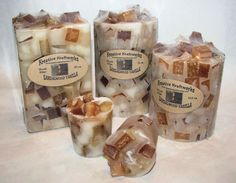 Chunk Candles made from paraffin wax and scented in Sandalwood Vanilla. Available in several sizes.