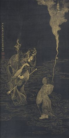 A 'LUOHAN' [a luohan (Sanskrit: arhat), a protector of the Buddhist faith] PAINTING SIGNED DING YUNPENG 17TH / 18TH CENTURY.