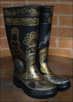 The Indigo Phial: Custom gold and silver henna patterned gumboots