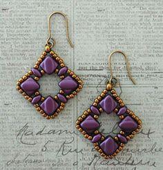 DIY Jewelry: Lindas Crafty Inspirations: Silky Squares Earrings & Vivians Bracelet Set  Purple Velvet