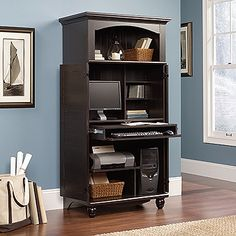 Sauder Harbor View Computer Armoire, Antiqued Paint This Product  Space Saving Cabinet Conceals Computer Components .Slide Out Work Surface,  Keyboard Shelf ...