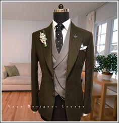 V Neck Button Up Belt Design Waistcoat Dress Suits, Men Dress, Dress Vest, Mens Fashion Website, Man Dressing Style, Classic Suit, Formal Suits, Mens Fashion Suits, Suit And Tie