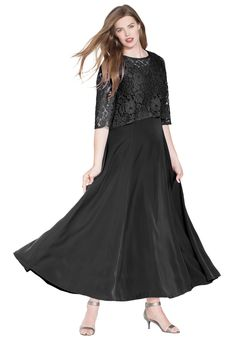 """A dress with a cape for extra elegance.  A-line silhouette scalloped crew neckline attached lace cape with 3/4-length sleeves front and back princess seams back zipper fully lined full sweep hem drops to about 57"""" polyester twill, machine wash, imported  Women's plus size dresses - lace cape dress  In Style Now!""""Fashionable"""" is its middle name."""