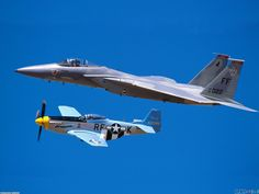 F-15 Eagle and P-51 Mustang