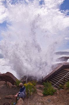Waves generated by Hurricane Bill crash at Thunder Hole, Acadia National Park, Maine, August 23, 2009. Thunder Hole is one of the most popul...