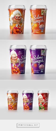 "Salme Jumps ice cream packaging on Behance by KOOR Packaging design Tallinn, Estonia curated by Packaging Diva PD. A clever play on words with an old Estonian woman's name being Salme and Latvian word for ice cream being ""saldejums"" and a bright colour palette for shelf impact."