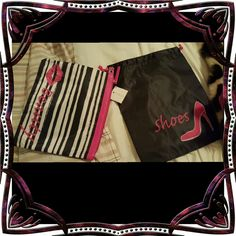 "Macy's shoe bag with matching makeup bag BRAND NEW Macy's Shoe Travel Tote Bag & Matching Cosmetics Zip-Up Bag w/ Tags  Pink/White/Black  Brand new, never used  The shoe bag/tote measures about 11.5""W x 14""L (has a pull string closure) The cosmetic bag measures about 11""W x 9.5""L (has a zipper closure)  Reduced: 3/7/17 Macy's Makeup Brushes & Tools"