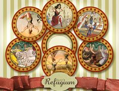 Cupcake Toppers Circus 12 round Images 2 inches by digitalRefugium