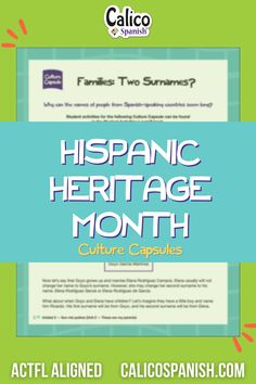 Hispanic Heritage Month activities for teachers and parents to share with kids. Elementary Spanish, Teaching Spanish, Elementary Schools, Curriculum, Homeschool, Spanish Speaking Countries, Hispanic Heritage Month, Spanish Culture, People Names