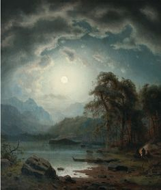 Carl Ludwig Scheins (deutsch, 1808 - 1879) Titel: Night Landscape with Hunters by a Fire
