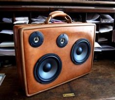 boombox leather suitcase