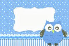 Lindo kit completo com vários convites, rótulos e personalizados para você imprimir de graça e arrasar na sua festa com o Tema Corujinha Azul para Meninos!