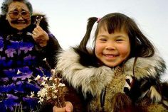 Inupiaq girl with Grandmother