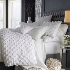 Laura from Milwaukee, WI requested a post on all white bedding. White bedding and lots of pillows? I've had all white bedding. Gray Bedroom, Home Bedroom, Master Bedroom, Bedroom Decor, Bedroom Ideas, Bedroom Colors, White Bedrooms, Bedroom Inspiration, Pretty Bedroom