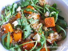 Pumpkin, Rocket and Goats Cheese Quinoa Salad Quinoa Salad, Seaweed Salad, Goat Cheese, Goats, Food And Drink, Merry, Pumpkin, Yummy Food, Ethnic Recipes