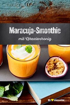 Maracuja-Smoothie Enjoy this fruity-delicious drink on hot summer days: Try our smoothie made from fresh passion fruit and mango with yoghurt and acacia honey – prepared in 15 minutes! Smoothie Detox, Avocado Smoothie, Smoothie Prep, Good Smoothies, Fruit Smoothies, Smoothie Recipes, Passion Fruit Smoothie, Blackberry Smoothie, Superfood